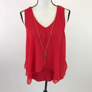 NWT BCX Red Flowy Tank Top M